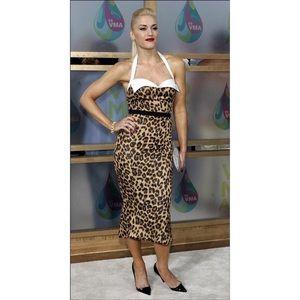 Dina Bar-el Dresses - ♡ DINA BAR-EL SATIN DESIGNER LEOPARD PRINT DRESS ♡